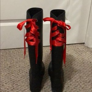 Coach Rain Boots with lace up back